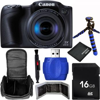 Canon PowerShot SX410 IS Digital Camera (Black) Bundle with Carrying Case and Accessory Kit (7 Items)