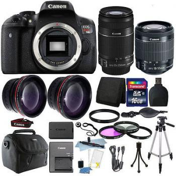 Canon EOS 760D/T6s DSLR Camera with Dual Lens Bundle