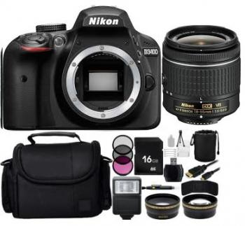 Nikon D3400 DSLR Camera with 18-55mm Lens (Black) Bundle