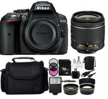 Nikon D5300 DSLR Camera with 18-55mm VR Lens + Kit Bundle (Black)