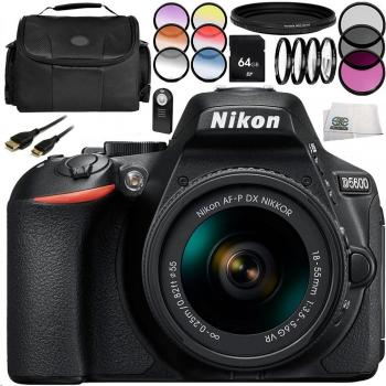 Nikon D5600 DSLR Camera with Nikon AF-P DX NIKKOR 18-55mm f/3.5-5.6G VR Lens 14PC Accessory Bundle