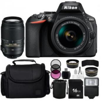 Nikon D5600 DSLR Camera with 18-55mm & 55-300mm VR Lenses + Accessory Bundle