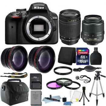 Nikon D3400 DSLR Camera with 18-55 and 70-300 Lens (Black) Kit