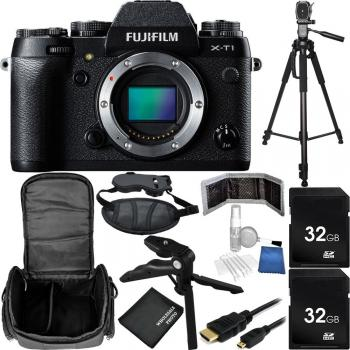 Fujifilm X-T1 Mirrorless Digital Camera Bundle (Body Only, Black) with Carrying Case and Accessory Kit (14 Items)