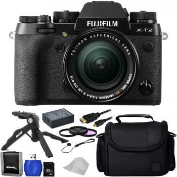 Fujifilm X-T2 Mirrorless Digital Camera with 18-55mm Lens + Accessory Bundle