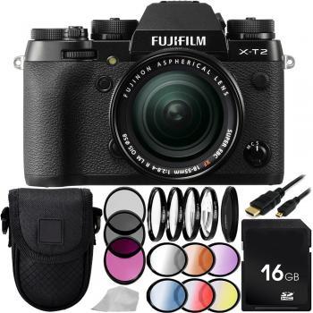Fujifilm X-T2 Mirrorless Digital Camera with XF 18-55mm f/2.8-4 R LM OIS Lens 16GB Basic Bundle
