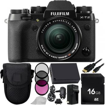 Fujifilm X-T2 Mirrorless Digital Camera with XF 18-55mm f/2.8-4 R LM OIS Lens 16GB Basic Bundle with Extra Battery