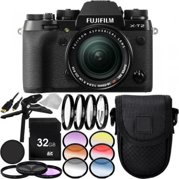 Fujifilm X-T2 Mirrorless Digital Camera with XF 18-55mm f/2.8-4 R LM OIS Lens 32GB Advanced Bundle