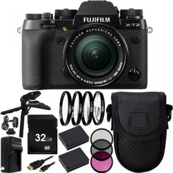 Fujifilm X-T2 Mirrorless Digital Camera with XF 18-55mm f/2.8-4 R LM OIS Lens 32GB Advanced Bundle with Batteries