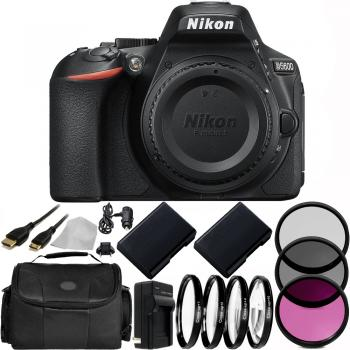 Nikon D5600 DSLR Camera (Body Only) 32GB Basic Package with 2 Extra Batteries