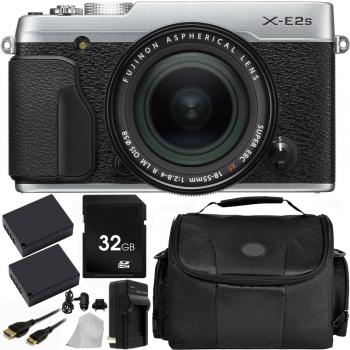 Fujifilm X-E2S Mirrorless Digital Camera with 18-55mm Lens (Silver) with Accessory Bundle