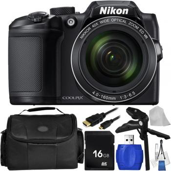 Nikon COOLPIX B500 Digital Camera (Black) with Accessory Bundle