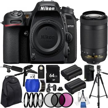 Nikon D7500 DSLR Camera with AF-P DX NIKKOR 70-300mm f/4.5-6.3G ED VR Lens & Accessory Kit