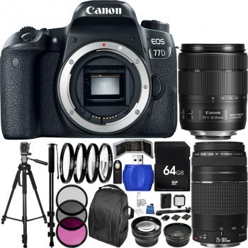 Canon EOS 77D DSLR Camera with Deluxe Dual Lens Bundle