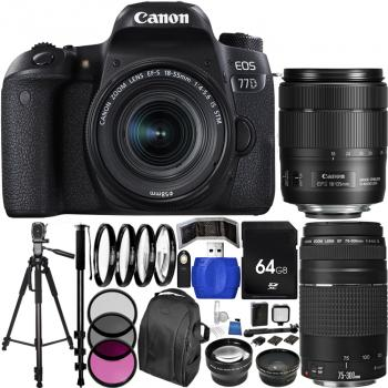 Canon EOS 77D DSLR Camera with Deluxe Triple Lens Bundle