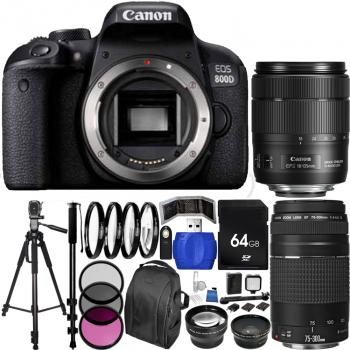Canon EOS 800D/Rebel T7i DSLR Camera with Deluxe Dual Lens Bundle