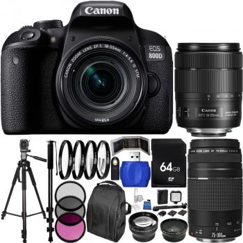Canon EOS 800D/Rebel T7i DSLR Camera with Deluxe Triple Lens Bundle