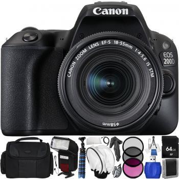 Canon EOS 200D Rebel SL2 DSLR Camera with 18-55mm Lens (Black) - Start