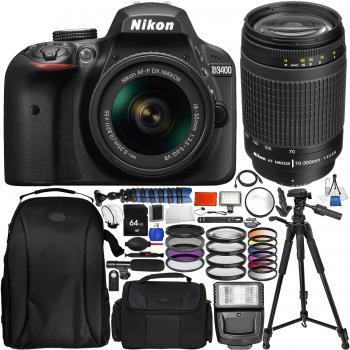 Nikon D3400 DSLR Camera with 18-55mm Lens AF Zoom Nikkor 70-300mm f4-5.6G Lens (Black) & Accessory Bundle