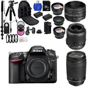 Nikon D7200 Digital SLR Camera Three Lens Bundle