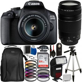 Canon EOS 2000D DSLR Camera with 18-55mm Lens 75-300mm Lens and Access