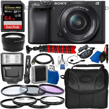 Sony Alpha a6400 Mirrorless Digital Camera with 16-50mm Lens and Essential Accessory Bundle