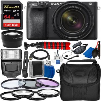 Sony Alpha a6400 Mirrorless Digital Camera with 18-135mm Lens and Essential Accessory Bundle
