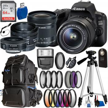 Canon EOS 200D / Rebel SL2 DSLR Camera with 18-55mm, 10-18mm, 24mm, & 50mm Canon Lenses & Essential Accessory Bundle