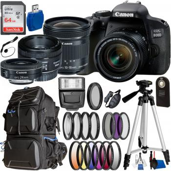 Canon EOS 800D / Rebel T7I DSLR Camera with 18-55mm, 10-18mm, 24mm, & 50mm  Canon Lenses & Essential Accessory Bundle