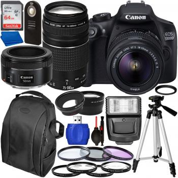 Canon EOS 1300D DSLR Camera with 18-55mm, 75-300mm, & 50mm
