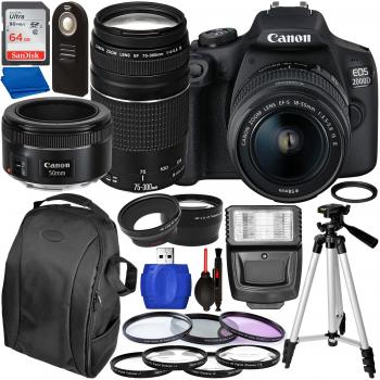 Canon EOS 2000D DSLR Camera with 18-55mm 75-300mm & 50mm Canon Lenses