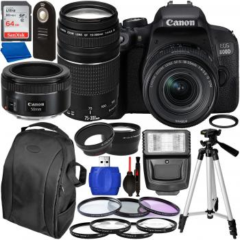 Canon EOS 800D DSLR Camera with 18-55mm 75-300mm & 50mm Canon Lenses &