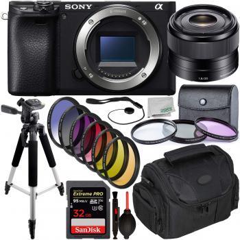 Sony Alpha a6400 Mirrorless Digital Camera with Sony 35mm Lens & Essential Accessory Bundle