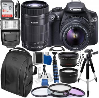 Canon EOS 1300D / Rebel T6 DSLR Camera with 18-55mm IS II & 55-250mm IS STM Canon Lens Kit & Essential Accessory Bundle