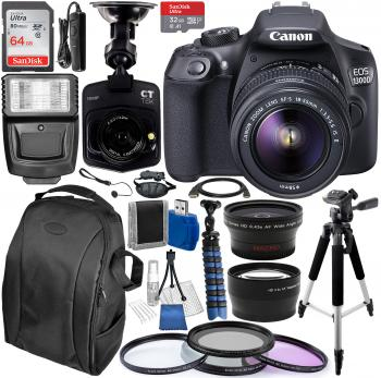 Canon EOS 1300D / Rebel T6 DSLR Camera with 18-55mm IS II Lens Kit & Essential Accessory Bundle with **FREE** Promotional Dash Cam