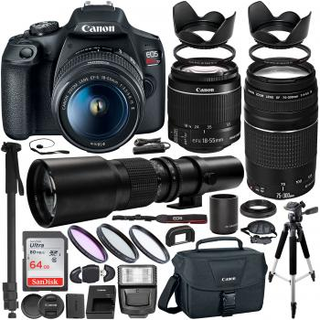 Canon EOS Rebel T7 DSLR Camera with EF-S 18-55mm IS II & EF 75-300mm III Canon Lenses & 500mm Preset Lens & Professional Accessory Bundle – Includes: SanDisk Ultra 64GB SDHC Memory Card & MORE