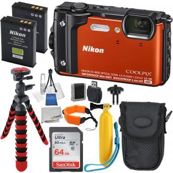 Nikon COOLPIX W300 Digital Camera (Orange) with Deluxe Accessory Bundl