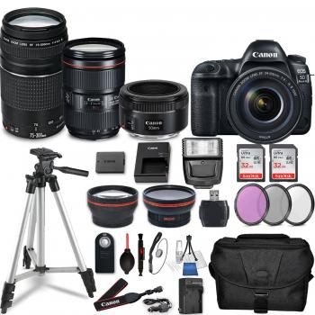 Canon EOS 5D Mark IV DSLR Camera with 24-105mm f/4L II Lens, 50mm f/1.8 STM Lens, EF 75-300mm f/4-5.6 III USM Lens and Accessory Bundle