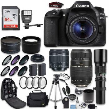 Canon EOS 80D DSLR Camera with Canon EF-S 18-55mm Tamron 70-300mm & 1000mm Telephoto Lens (500mm with 2X Converter) Accessory Bundle