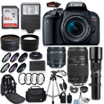 Canon EOS Rebel T7i DSLR Camera with Canon EF-S 18-55mm Tamron 70-300mm 500mm Telephoto Lens and Accessory Kit Special