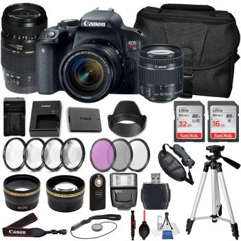 Canon EOS Rebel T7i/800D DSLR Camera with 18-55mm Lens Tamron Zoom Telephoto AF 70-300mm f/4-5.6 Di LD Macro Autofocus Lens and Accessory Bundle
