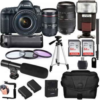 Canon EOS 5D Mark IV DSLR Camera with 24-105mm f/4L II Lens Tamron 70-300mm f/4-5.6 Di LD Macro Lens and Accessory Bundle