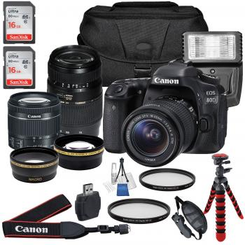 Canon EOS 80D DSLR Camera with 18-55mm Lens Tamron AF 70-300mm f/4-5.6 Di LD Macro Lens and Accessory Bundle