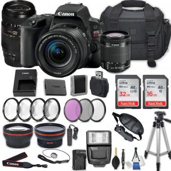 Canon EOS Rebel SL2/200D DSLR Camera with 18-55mm Lens (Black) Tamron AF 70-300mm f/4-5.6 Di LD Macro Lens and Accessory Bundle