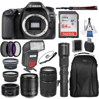 Canon EOS 80D DSLR Camera with 18-135mm Lens, 75-300mm f/4-5.6 III USM Lens, 50mm f/1.8 STM Lens, Ultimaxx 500mm Preset Lens and Accessory Bundle