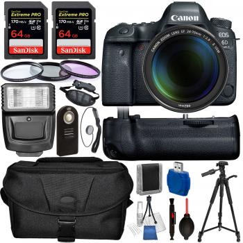 Canon EOS 6D Mark II DSLR Camera with Canon 24-70mm f/2.8L II USM Lens and Accessory Bundle