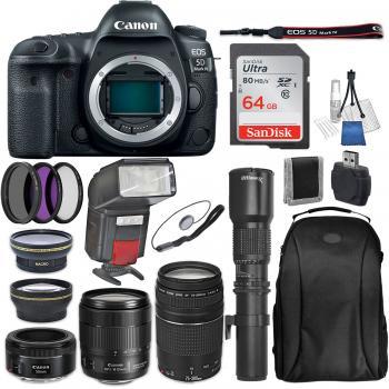 Canon EOS 5D Mark IV DSLR Camera with 24-105mm f/4L II Lens 75-300mm f/4-5.6 III USM Lens 50mm f/1.8 STM Lens Ultimaxx 500mm Preset Lens and Accessory Bundle