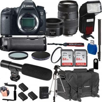 Canon EOS 6D Mark II DSLR Camera with Canon EF 50mm f/1.8 STM Lens Tamron 70-300mm f/4-5.6 Lens and Accessory Bundle