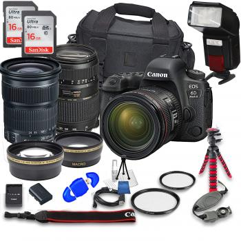 Canon EOS 6D Mark II DSLR Camera with 24-105mm f/3.5-5.6 Lens Tamron 70-300mm f/4-5.6 Lens and Accessory Bundle