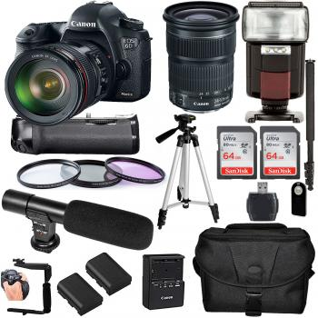 Canon EOS 6D Mark II DSLR Camera with 24-105mm Lens and Accessory Bundle